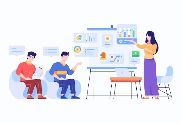 직원 존재, 분석, 회사 비즈니스 차트 개념 평면 스타일 디자인 일러스트레이션 토론