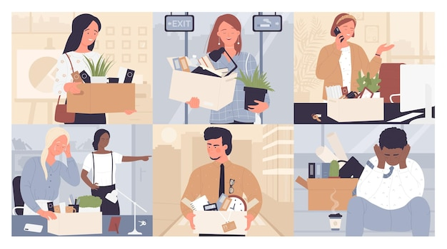 Набор увольнения замены сотрудников молодые грустные или счастливые деловые люди покидают офис
