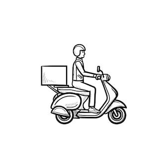 配達自転車の手描きのアウトライン落書きアイコンに乗って従業員。バイクとビジネス、宅配便、スクーターのコンセプト