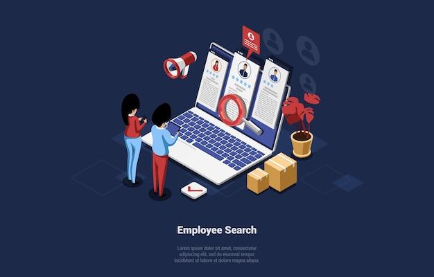 漫画の3dスタイルの従業員検索概念図。候補ポートフォリオでノートパソコンの画面を見ている2人のキャラクターの等尺性の構成。インフォグラフィックサイン、周りの段ボール箱。