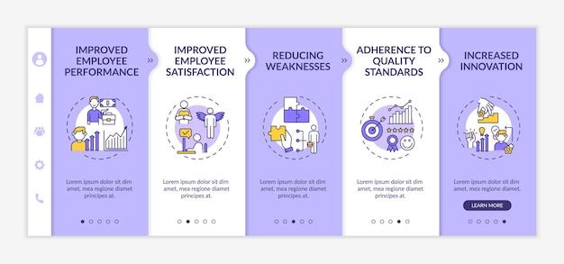 Шаблон адаптации для обучения сотрудников и разработки преимуществ. производительность рабочего. уменьшение слабых мест. адаптивный мобильный сайт с иконками. экраны пошагового просмотра веб-страниц. цветовая концепция rgb