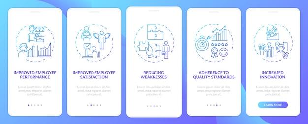 Преимущества обучения сотрудников: экран страницы мобильного приложения с концепциями. пошаговые инструкции по производительности, удовлетворенности. шаблон пользовательского интерфейса с цветом rgb