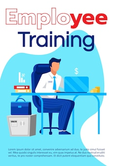 Employee training brochure template. educational courses flyer, booklet, leaflet concept with flat illustrations.  page cartoon layout for magazine. business school advertising with text space