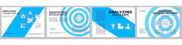 従業員研修ガイドラインパンフレットテンプレート。スキルギャップの分析。チラシ、小冊子、リーフレットプリント、線形アイコンのカバーデザイン。雑誌、年次報告書、広告ポスターのレイアウト