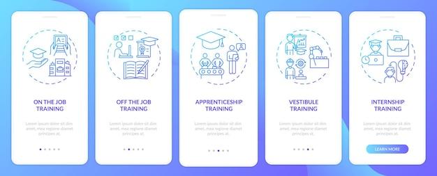 コンセプトを備えたモバイルアプリページ画面をオンボーディングする従業員トレーニング方法。前庭、オフザジョブ教育のウォークスルーステップ。 rgbカラーのuiテンプレート