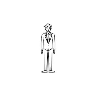 직원 벡터 손으로 그린 개요 낙서 아이콘입니다. 인쇄, 웹, 모바일 및 흰색 배경에 고립 된 인포 그래픽에 대 한 사업가 스케치 그림.