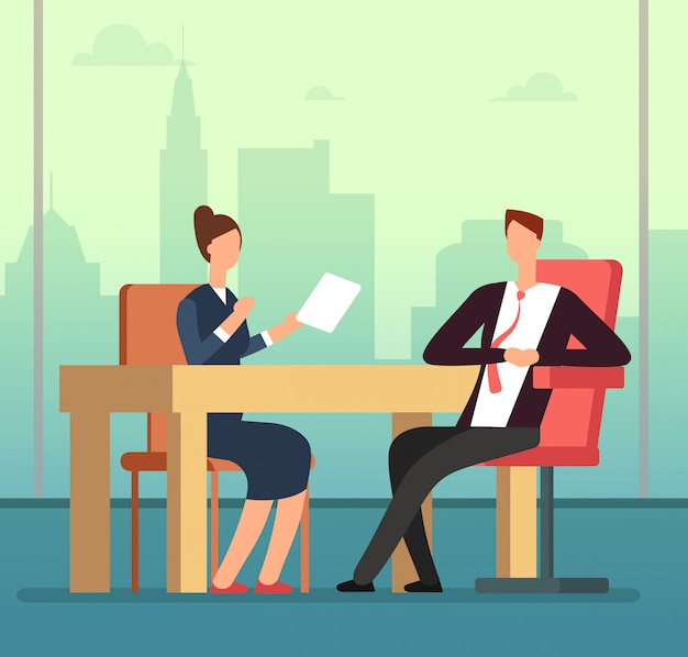 Employee woman and interviewer boss meeting at desk. job interview and recruitment vector cartoon concept