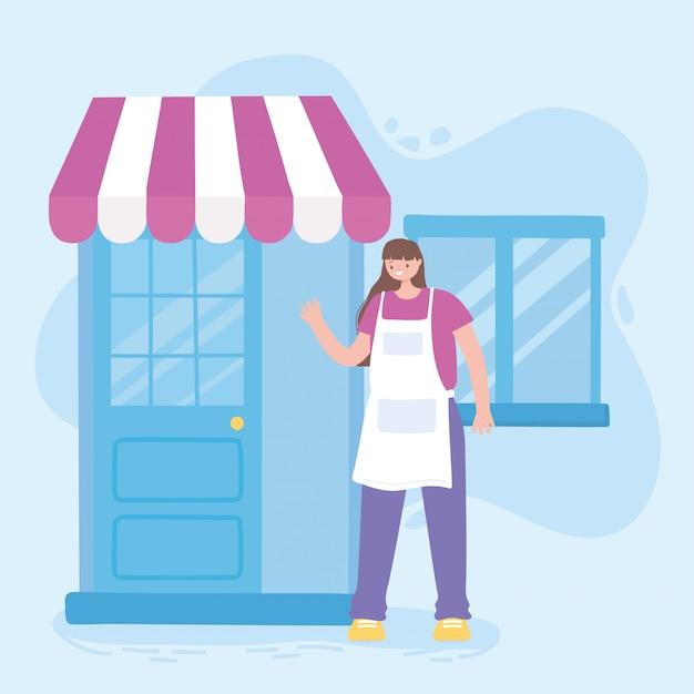 Работник женщина с открытой дверью