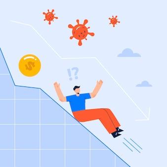 オフィスインテリア職場フラットベクトルイラストで働く従業員、ビジネスが減少、新しい思考、問題解決、ビジネステーマ