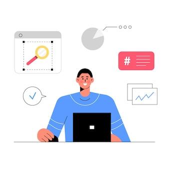 Сотрудник, работающий в офисе интерьер на рабочем месте плоский векторные иллюстрации