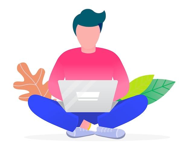 Сотрудник работает на ноутбуке. изолированный персонаж с цветочным декором, играя в компьютерные игры. фрилансер занимается проектом для компании. студент с курсами обучения пк готовится к векторным экзаменам