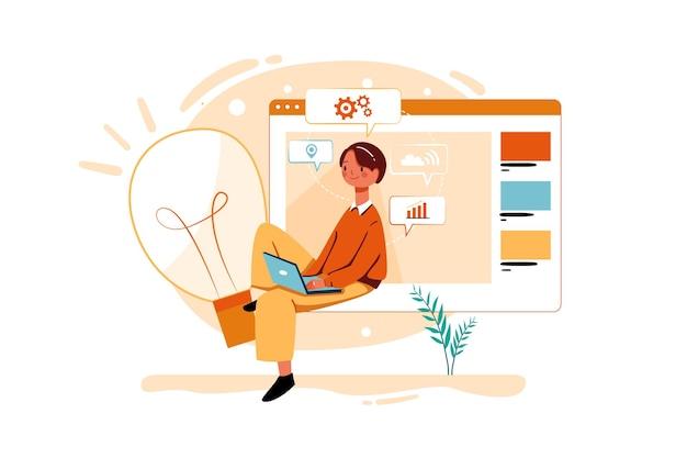 Сотрудник, работающий над маркетинговой идеей