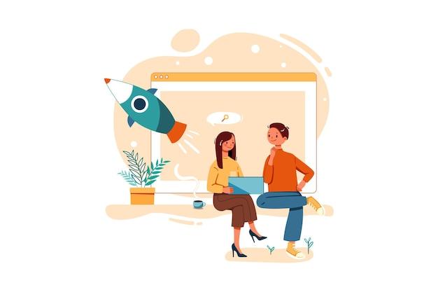 Сотрудник, работающий над маркетинговым планом стартапа