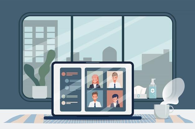직원들은 집에서 일하고 회의를하고 있습니다. 직장에서 새로운 정상적인 라이프 스타일 사람들. 콘도에서 도시 생활.
