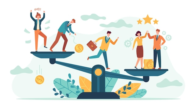 Employees balance scales. good and bad business tiny people comparison. employee or client choose job team. teamwork success vector concept. illustration balance professional business
