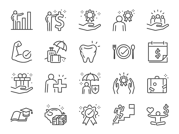 Employees benefits line icon set.
