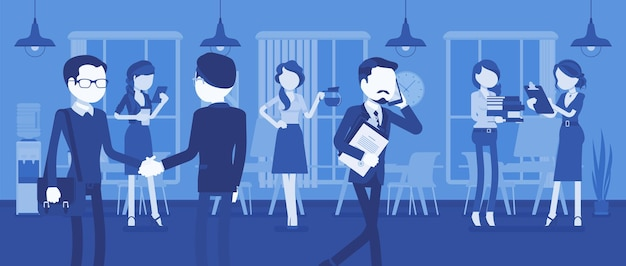 Сотрудники заняты в офисе. в зале работает группа деловых людей, бизнесмены встречаются с коллегами, занимаются профессиональной деятельностью в позитивном корпоративном настроении. векторная иллюстрация, безликие персонажи