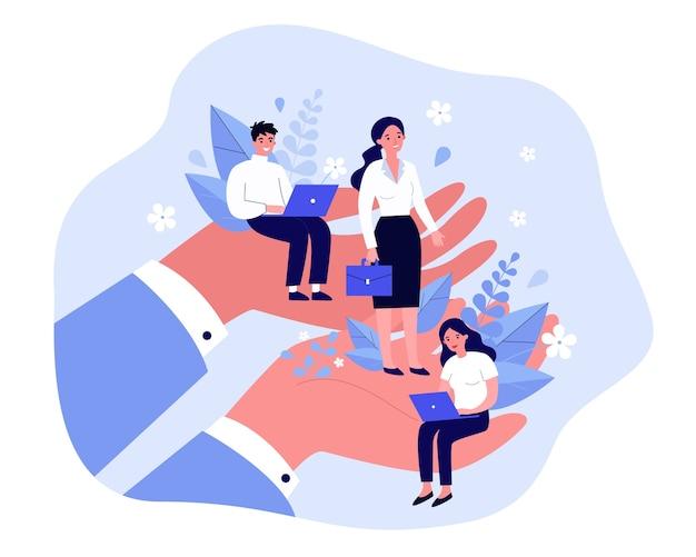 Концепция ухода за сотрудниками. гигантские человеческие руки держат и поддерживают крошечных профессионалов своего дела. иллюстрация для профсоюза, корпоративного страхования, благополучия сотрудников, льготных тем