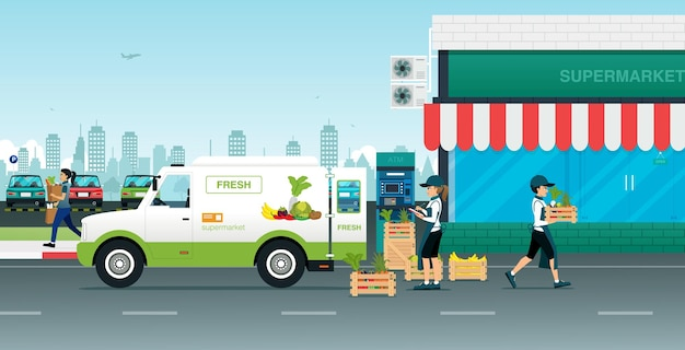 Employees carry fresh vegetables to the supermarket Premium Vector