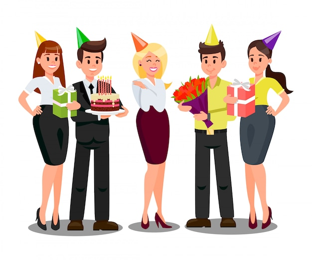 Employees celebrating birthday flat illustration