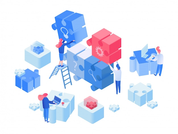 Employees coworking, team working isometric
