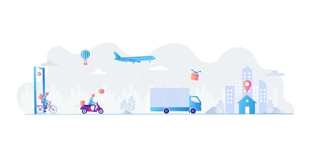 I dipendenti consegnano merci in varie forme ai clienti