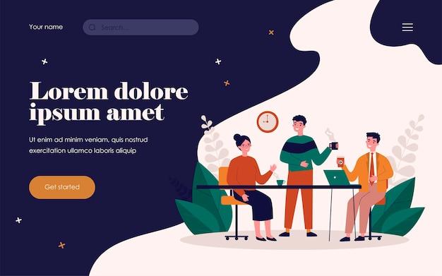 Сотрудники вместе пьют кофе. офисные работники, наслаждаясь утренним перерывом на кофе плоские векторные иллюстрации. общение, концепция встречи коллег для баннера, дизайна веб-сайта или целевой веб-страницы