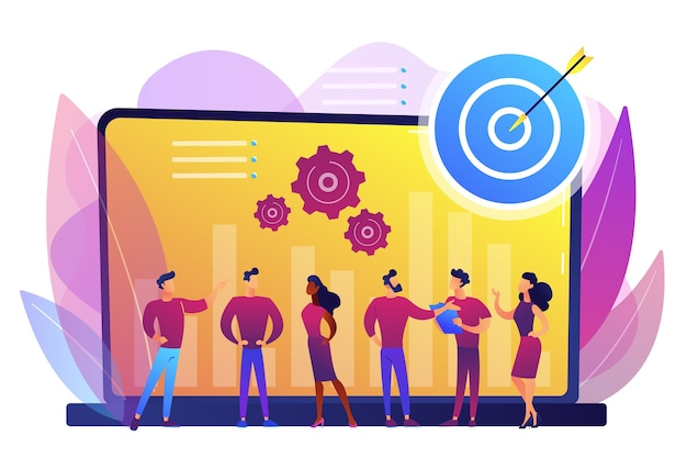 従業員は組織の目標とフィードバックを受け取ります。パフォーマンス管理、管理ソフトウェア、従業員の生産性およびパフォーマンス追跡の概念。