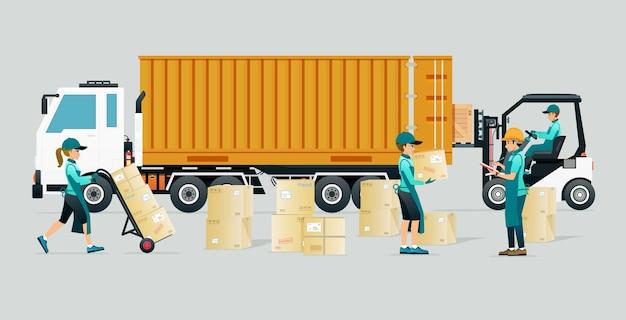 従業員は商品をトラックのコンテナに輸送するのを手伝います