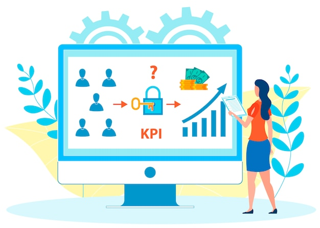 Employees kpi analysis flat vector illustration