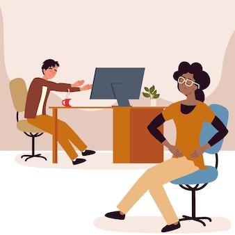 Employees in office active break