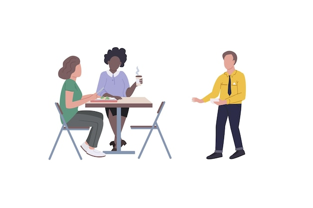 Сотрудники на обеденном перерыве плоский цветной безликий набор символов