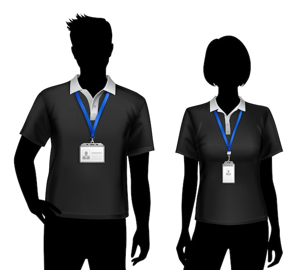 Employees silhouettes id cards