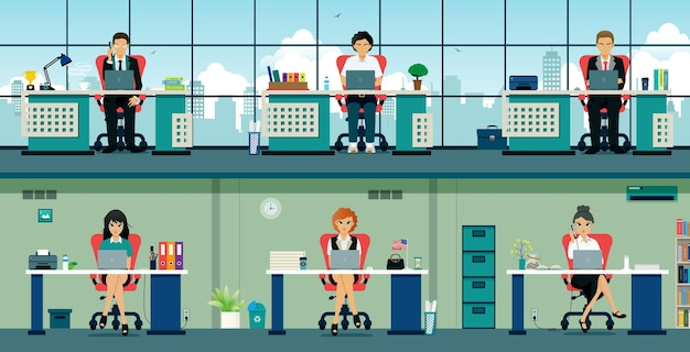 Employees sit at their desks with computers and gadgets