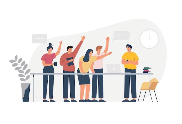 従業員チームは、コーヒーブレイクの自由時間に話したり笑ったりします。職場での成功プロジェクト、男性と女性について話し合うサラリーマンチーム。