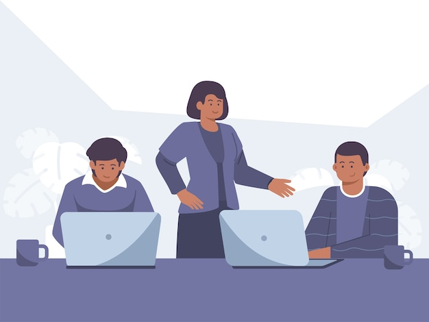 Employees with black skin people work front of computer concept illustration