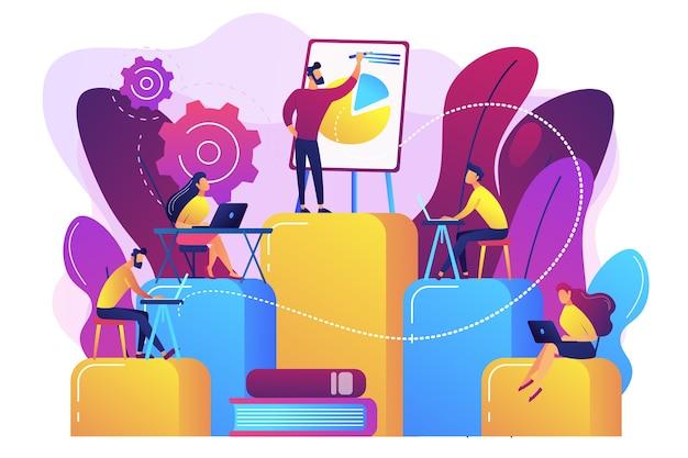 ラップトップを持っている従業員は、専門的なトレーニングで学習しています。内部教育、従業員教育、専門能力開発プログラムの概念。