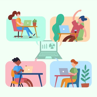 Employees working from home design