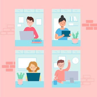 Employees working from home theme
