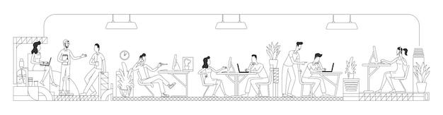 창조적 인 사무실 얇은 선에서 일하는 직원. 비즈니스 센터 개요에서 근로자