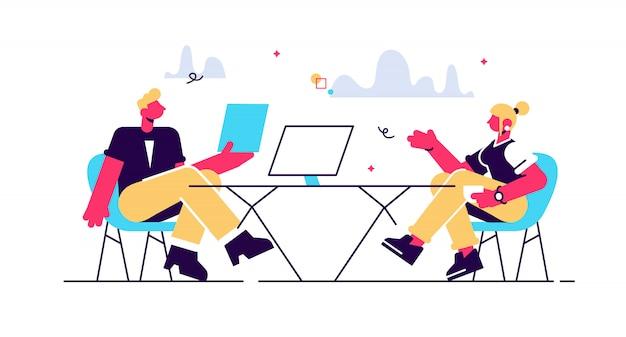 고용주 및 후보자 면접 그림에서 이야기. 면접 및 고용, 비즈니스 회의 및 모집, hr 관리자 및 구인 공석 개념. 흰색 배경에 고립.