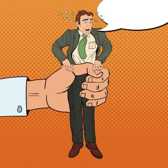 Employer big hand squeezes pop art office worker. oppression at work.