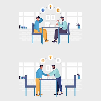 Employer and candidate talking at job interview illustration. job interview and employment, business meeting and recruitment, hr manager and job vacancy concept. isolated illustration.