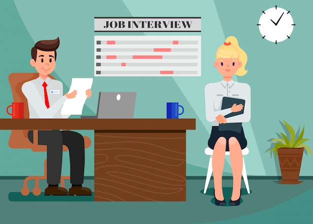 Employer and employee in office flat illustration