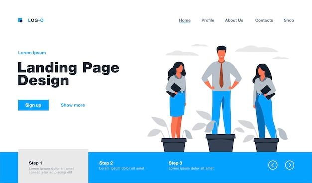 Employer growing business professionals metaphor. hand watering plants and employees in flowerpots.  illustration for growth, development, career training concept landing page