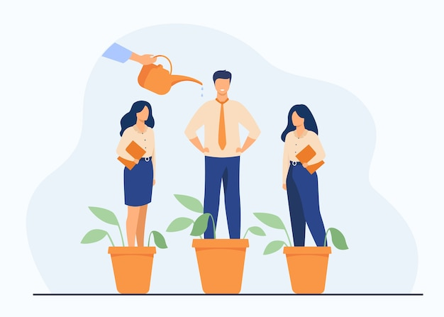 Employer growing business professionals metaphor. hand watering plants and employees in flowerpots. vector illustration for growth, development, career training concept