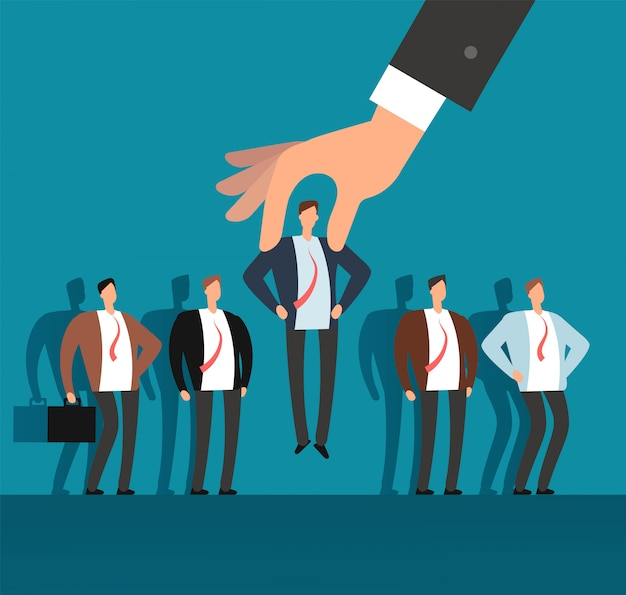 Employer hand choosing man from selected group of people. recruitment vector business concept