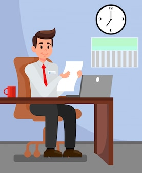 Employer in private office vector illustration