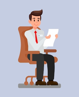 Employer at workplace cartoon vector illustration