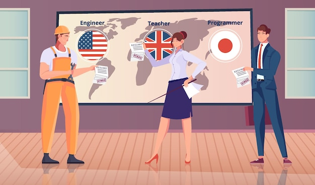Employment abroad flat composition with indoor scenery characters of engineer teacher and programmer with world map illustration